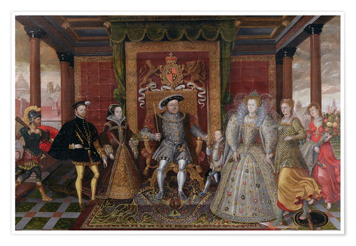 Premium-plakat An Allegory of the Tudor Succession: The Family of Henry VIII