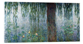 Akrylbillede  Waterlilies: Morning with Weeping Willows (detail) - Claude Monet