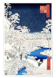 Premium-plakat  Drum bridge and hill of the setting sun at Meguro - Utagawa Hiroshige