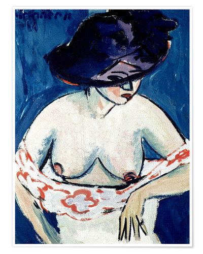 Premium-plakat Half-naked woman with a hat