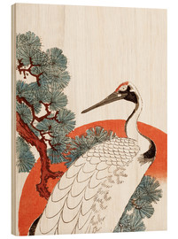 Print på træ  First sunrise of the New Year, with a crane in a pine tree - Utagawa Hiroshige