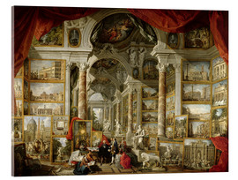 Akrylbillede  Gallery with Views of Modern Rome - Giovanni Paolo Pannini