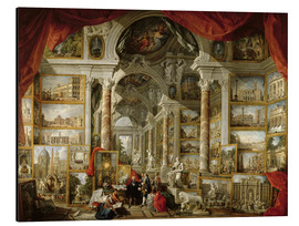 Print på aluminium  Gallery with pictures of Modern Rome - Giovanni Paolo Pannini