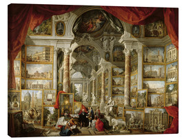 Lærredsbillede  Gallery with pictures of Modern Rome - Giovanni Paolo Pannini