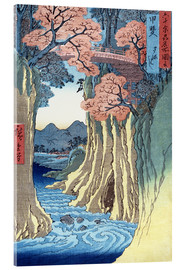 Akrylbillede  The monkey bridge in the Kai province - Utagawa Hiroshige