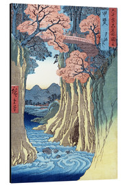 Print på aluminium  The monkey bridge in the Kai province - Utagawa Hiroshige