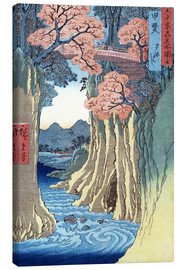 Lærredsbillede  The monkey bridge in the Kai province - Utagawa Hiroshige
