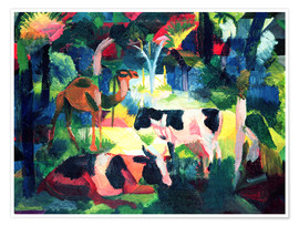 Premium-plakat  Landscape with Cows and a Camel - August Macke