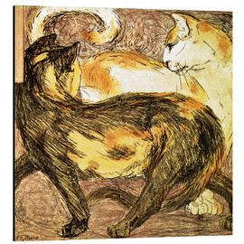 Print på aluminium  Two cats - Franz Marc