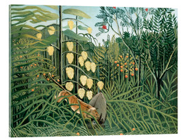 Akrylbillede  Tiger attacks a buffalo - Henri Rousseau