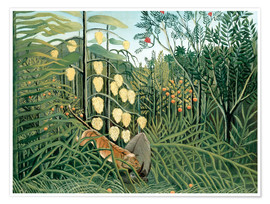 Premium-plakat  Tiger attacks a buffalo - Henri Rousseau