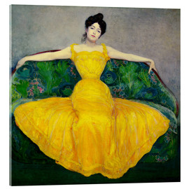Akrylbillede  Lady in yellow dress - Maximilian Kurzweil