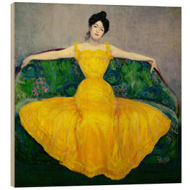 Print på træ  Lady in yellow dress - Maximilian Kurzweil