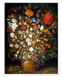 Premium-plakat Large bouquet of flowers in a wooden tub