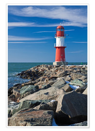 Premium-plakat Lighthouse on the Baltic Sea coast in Warnemuende (Germany)