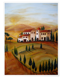 Premium-plakat  Sunrise in Tuscany - Christine Huwer