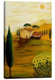 Lærredsbillede  Sunflowers in Tuscany - Christine Huwer