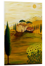 Print på skumplade  Sunflowers in Tuscany - Christine Huwer