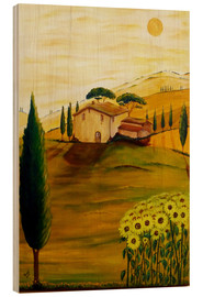 Print på træ  Sunflowers in Tuscany - Christine Huwer