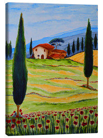 Lærredsbillede  Flowering Poppies of Tuscany 4 - Christine Huwer
