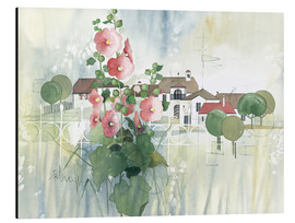Print på aluminium  Rural Impression with hollyhocks - Franz Heigl