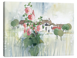 Lærredsbillede  Rural Impression with hollyhocks - Franz Heigl