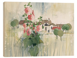 Print på træ  Rural Impression with hollyhocks - Franz Heigl