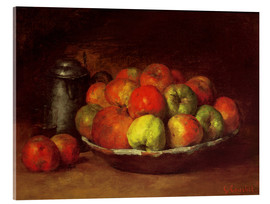 Akrylbillede  Still Life with Apples and a Pomegranate - Gustave Courbet