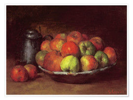 Premium-plakat  Still Life with Apples and a Pomegranate - Gustave Courbet