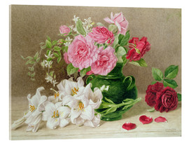 Akrylbillede  Roses and lilies - Mary Elizabeth Duffield