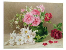 Print på skumplade  Roses and lilies - Mary Elizabeth Duffield