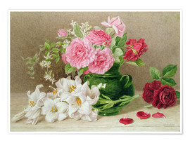 Premium-plakat  Roses and lilies - Mary Elizabeth Duffield