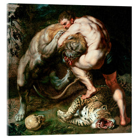 Akrylbillede  Hercules Fighting the Nemean Lion - Peter Paul Rubens