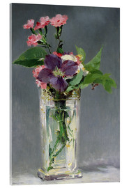Akrylbillede  Pinks and Clematis in a Crystal Vase - Edouard Manet