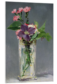 Print på skumplade  Pinks and Clematis in a Crystal Vase - Edouard Manet