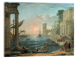 Akrylbillede  Seaport with the Embarkation of the Queen of Sheba - Claude Lorrain