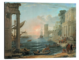 Print på aluminium  Seaport with the Embarkation of the Queen of Sheba - Claude Lorrain