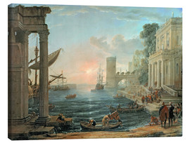 Lærredsbillede  Seaport with the Embarkation of the Queen of Sheba - Claude Lorrain