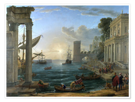 Premium-plakat Seaport with the Embarkation of the Queen of Sheba