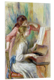 Print på skumplade  Young Girls at the Piano - Pierre-Auguste Renoir