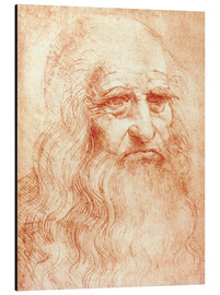 Print på aluminium  Portrait of a Man in Red Chalk (selvportræt) - Leonardo da Vinci