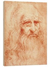 Print på træ  Portrait of a Man in Red Chalk (selvportræt) - Leonardo da Vinci