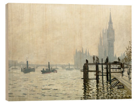 Print på træ  The Thames below Westminster - Claude Monet