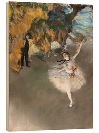 Print på træ  The Star (Dancer on Stage) - Edgar Degas
