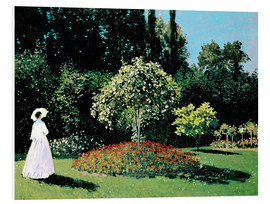 Print på skumplade  Woman in a Garden - Claude Monet