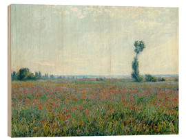 Print på træ  Field with poppies - Claude Monet