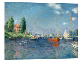 Akrylbillede  Red boats at Argenteuil - Claude Monet