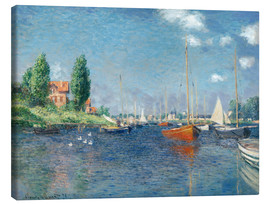 Lærredsbillede  Red boats at Argenteuil - Claude Monet