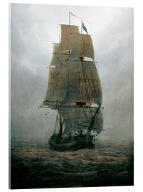 Akrylbillede  Sailing ship in the fog - Caspar David Friedrich