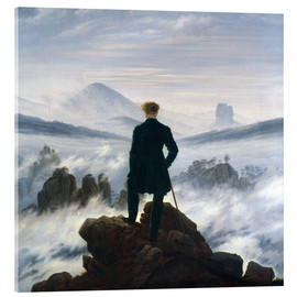 Akrylbillede  Vandreren over tågehavet - Caspar David Friedrich
